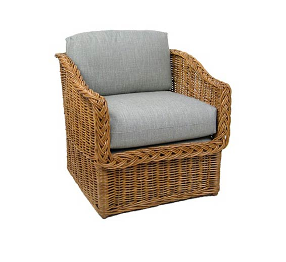 Classic Square Back Lounge Chair Wicker Material